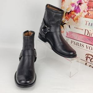 Frye Phillip Harness Short Harness Black Boots